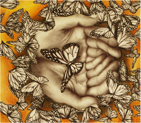 illustration of hands holding butterflies